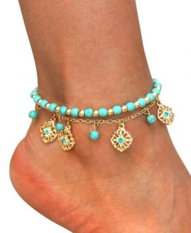 Bohemian Multilayer Turquoise Beads and Pendant Anklet
